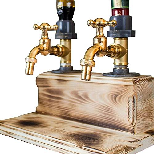 YANGLIXIA Whiskey Wood Dispenser Dispensador de Madera de Whisky de Alcohol de Licor, Barras y Estaciones de Bebidas Dispensador de licores Día del Padre Regalo Double Exit