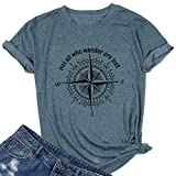 Women Tshirts Compass Graphic Short Sleeve Inspirational Travel Not All Who Wander are Lost Casual Tees(Ink Blue L)