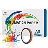 JANDJPACKAGING Sublimination Paper for Heat Transfer - 100 Sheets A3 Sublimation Paper for All Inkjet Printer with Sublimation Ink
