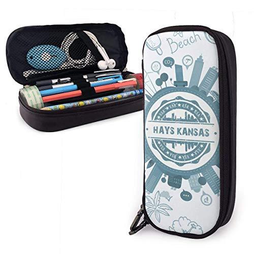 Hays Kansas Hochleistungs-Leder-Federmäppchen, Bleistift-Schreibwarenhalter Großer Aufbewahrungsbeutel Box Organizer