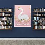 JEOLVP Gorra de Verano para Mujer Cute Princess Swan en Dibujos Animados Gorra Dibujada a Mano Cute Women 1.5 Inch Thickched Artwork Ready to Hang Wall Decor on Canvas