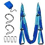 Hamaca de yoga antigravedad aérea – Juego de seis asas de pilates juego incluye mosquetones de acero correas de extensión sin soporte para colgar en el techo para el hogar y gimnasio fitness, Azul
