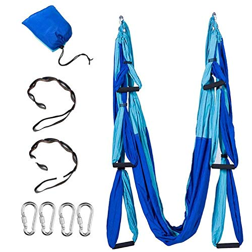 Anti-Gravity Aerial Yoga Hammock Swing – Six Handles Sling Pilates Set Kit Include Steel Carabiners Extension Straps No Ceiling Hanging Mount for Home & Gym Fitness