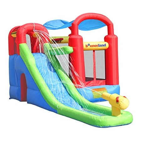Amazon Com Inflatable Bounce House Or Water Slide Wet Or Dry With Sun Roof Ball Pit 30 Balls Water Gun Fun Bouncing Area With Basketball Hoop Long Slide With Climbing Wall Ul Certified
