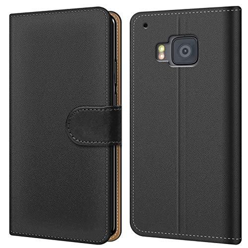 Conie BW6567 Basic Wallet Kompatibel mit HTC One M9, Booklet PU Leder Hülle Tasche mit Kartenfächer & Aufstellfunktion für One M9 Hülle Schwarz