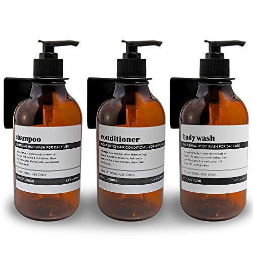 MaisoNovo Shampoo Dispenser for Shower Wall 3 Chamber - Drill Free Shower Soap Dispenser Wall Mount with Waterproof Labels - 3 Bottles 3 Wall Mounts