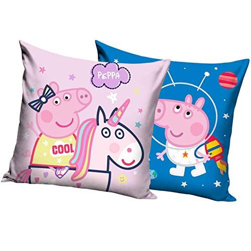 JuniorToys Peppa Pig Kissen 2er-Set Peppa Wutz 40 x 40cm Peppa Wutz Einhorn & Space
