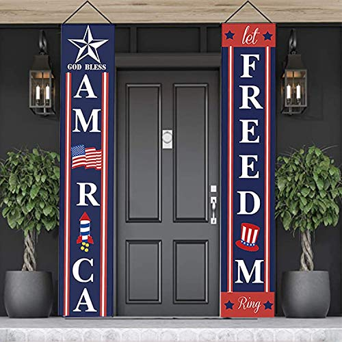 """Patriotic Decorations for 4th of July Decor, """"God BLESS AMERICA"""", """"Let FREEDOM Ring"""" Banners for Independence Day Front Door Decoration"""
