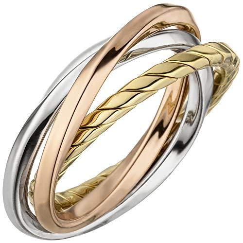 JOBO Damen-Ring verschlungen aus 925 Silber tricolor vergoldet Größe 60
