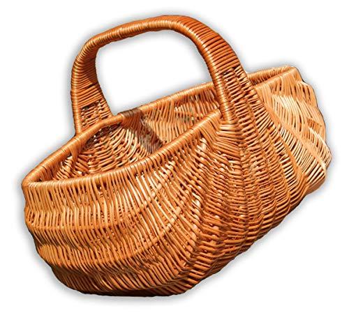 Alpenfell Einkaufskorb Indonesia aus Weide, Weidenkorb Bügelkorb Picknickkorb Pilzkorb, Gross mit Griff, Handarbeit, sehr stabil - 50 x 32,5 x 38cm