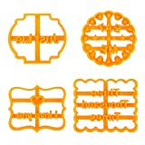 WIOR Cookie Mold, Cookie Cutters Shapes with Fun Phrases, 4 Pcs Small Cookie Cutters Set Plastic DIY Baking Biscuit Mould Letter Shapes Baking Set for Friends Party Kitchen