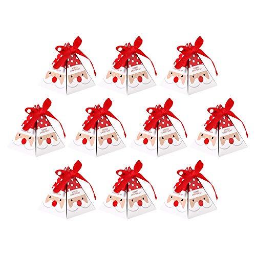 10 Stück Weihnachten Süßigkeitentasche Candy Geschenktüte Faltbare Weihnachtsmann/Weihnachtsbaum/Elch Stil Weihnachtsparty Tasche Geschenkbox Mitbringsel (Weihnachtsmann)