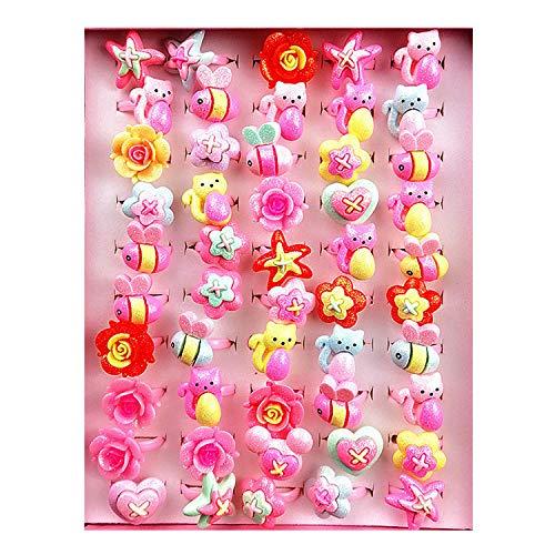 Anillos para Niños, PTN 50pcs Anillos Niña Juguete, Joyas de Dibujos Animados Con Caja, Anillo Infantil con Purpurina Rosa para Los Favores de la Fiesta de Cumpleaños de Los Niños