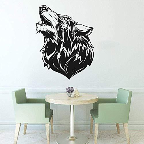 Animal de la selva Lobo pegatina de pared dormitorio niños habitación Lobo zoológico calcomanía de pared sala de estar vinilo decoración del hogar 45x56 cm