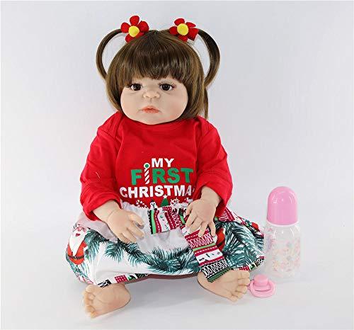 Lebensechte 23Newborn Puppe kann Vollsilikon Neugeborenen lebendige Reborn Puppen Baby Prinzessin stilvolle Weihnachtenfür MädchenWeihnachten Geburtstagsgeschenke für Kinderbaden
