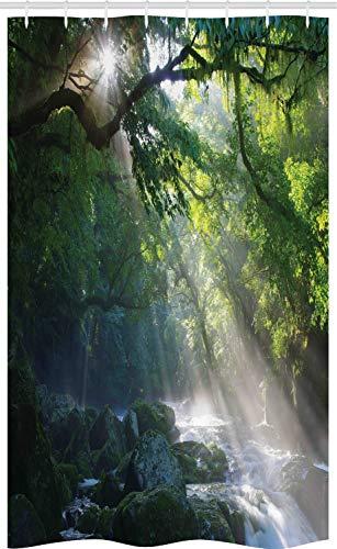 ABAKUHAUS Regenwald Schmaler Duschvorhang, Jungle Sonnenlicht Bäume, Badezimmer Deko Set aus Stoff mit Haken, 120 x 180 cm, Grün Weiß