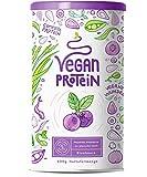 Vegan Protein | ARÁNDANO | Proteína vegana de arroz, guisantes, semillas de lino, amaranto, semillas de girasol y semillas de calabaza germinadas | 600g de polvo con sabor a Arándano