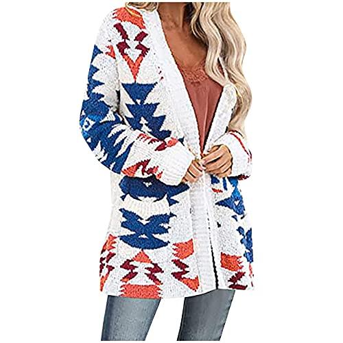 Shopler Patrones de punto grueso para mujer, chaquetas de manga larga con parte delantera abierta, suéteres sueltos, abrigos con bolsillos, blanco, L