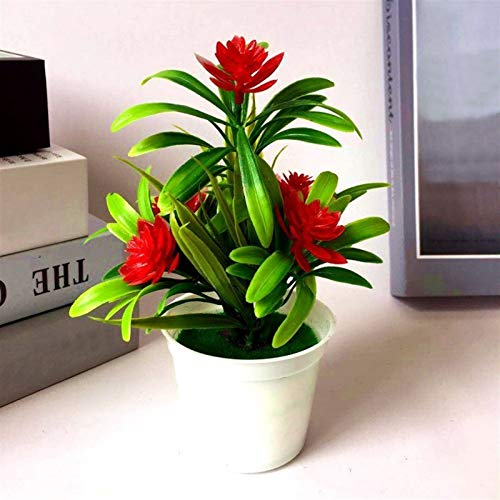 XWZH Künstliche Blume Künstliche Pflanzen Bonsai Kleiner Baum Topfpflanzen Bonsai Lotus Blumen Fake Flowers Topf Ornamente Home Decoration Gartendeko (Color : Red)