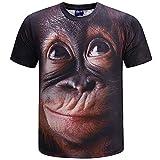 ANUFER Unisex Adulto Ragazzo novità Stampa Digitale 3D Gorilla Maglietta Manica Corta Tops Blouse T-Shirt caffè SN07612 XL