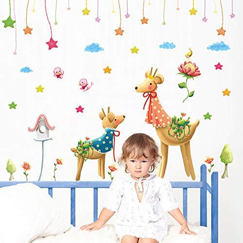 whmyz Romántico Ciruelo Ciervo Dormitorio Sala de Estar decoración de Libros extraíble Pintura de Pared Impermeable 50 * 70
