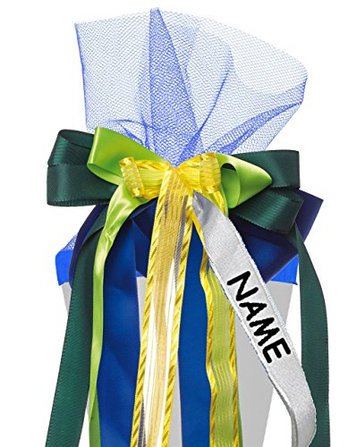 alles-meine.de GmbH große 3-D Schleife für Schultüten -  blau - grün & gelb  - incl. Name / Text - 24 cm breit u. 55 cm lang - mit edlen Satin Bändern, Tüll & Bastband - für Ge..