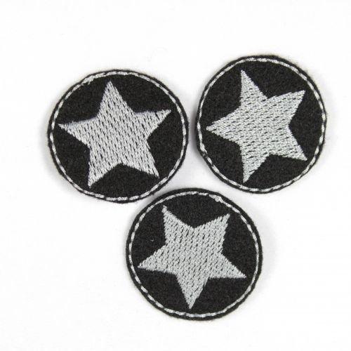 Aufbügler Bügelbild Bügelflicken rund 3er Set Klein Stern silber auf schwarz Sterne Flicken zum aufbügeln Mini Patches ø 3,5cm