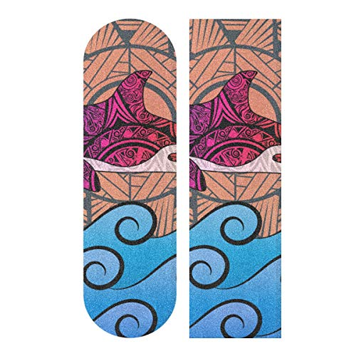 Fantastic Prices! CHXMA Tape Skateboard Sticker, Killer Whale Tribal Style Ornaments Sun 33.1x9.1 ...