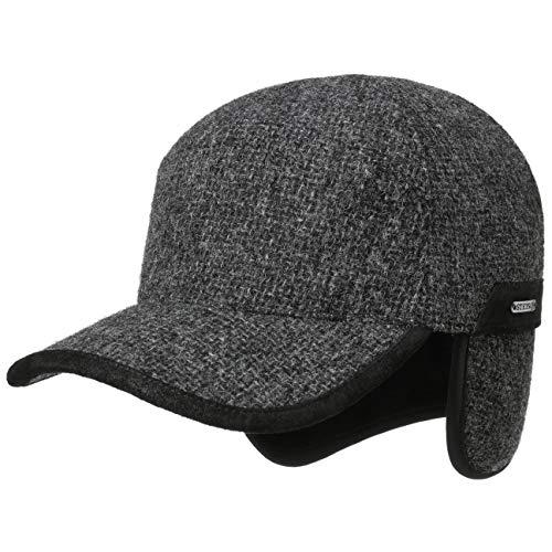 Stetson Daysville Wool Cap mit Ohrenklappen Wollcap Basecap Baseballcap Herrencap Herren - Made in The EU Hinten geschlossen, Schirm, Futter, Lederband Herbst-Winter - XXL (62-63 cm) anthrazit