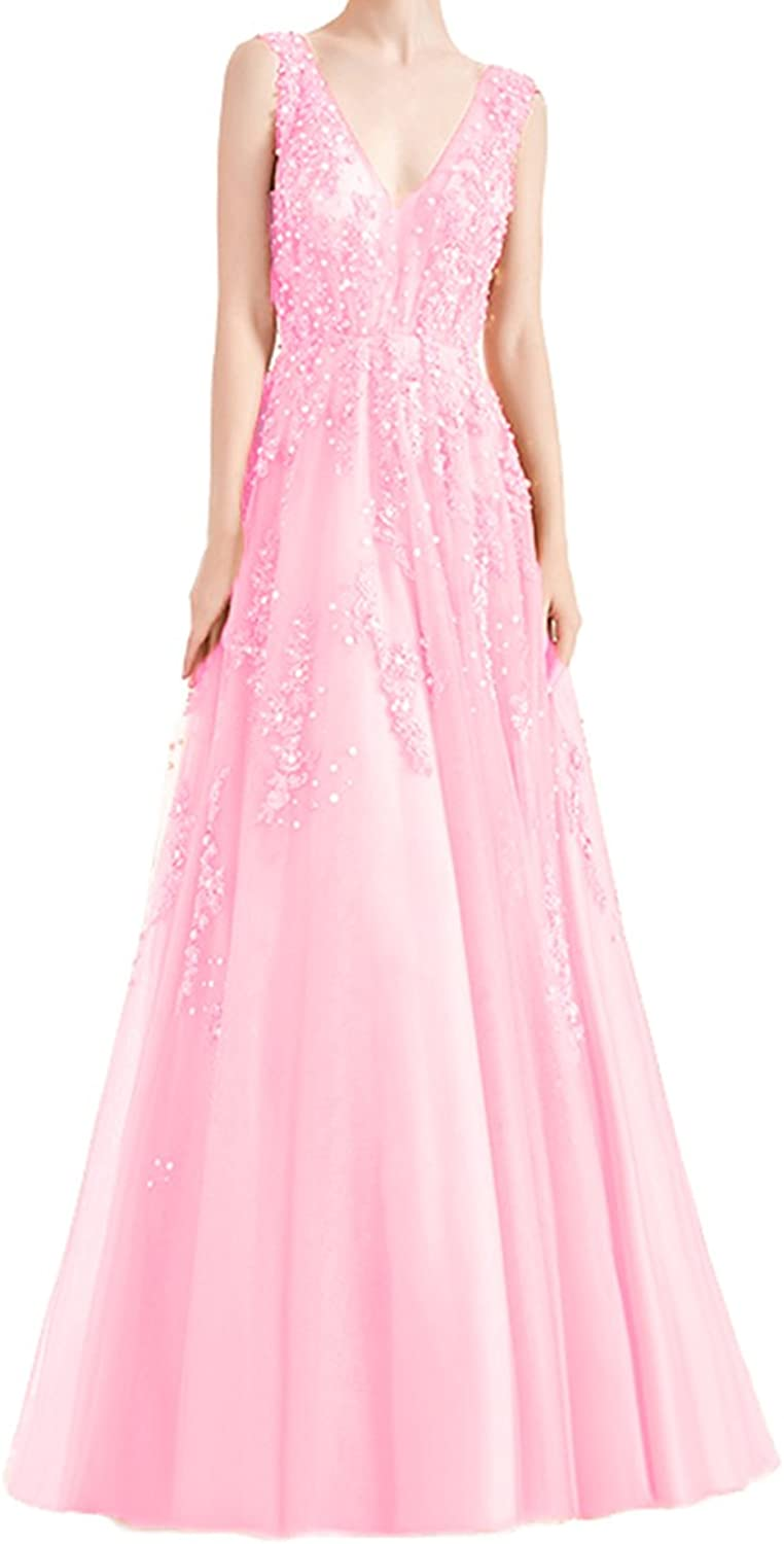 Alilith Z Womens Deep V Neck Beaded Appliques Brilliant Diamond Tulle Homecoming