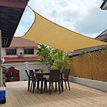 Jesasy Rectangle 10' X 20' Sun Shade Sail, UV Block Fabric Patio Sail Perfect for Outdoor Patio Garden Canopy Swimming Pools in Color Sand