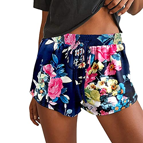 Pantalones Cortos de Playa de Estampado para Mujer Pantalón Cortos Deportivo con Cordón Shorts de Deporte Suelta y Cómodo Pantalones Deportes Transpirables Pantalon Casual Verano
