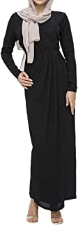 Muslim Elegant Long Dress Women Modest Maxi Dress Caftan Abaya Turkey Puff Sleeve Long Robe Solid Pleated Slit Flowy Dress (XXL, Black)