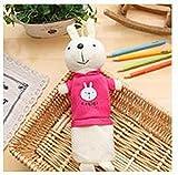Nuevo estuche de lápices de felpa Kawaii de dibujos animados bonitos, bolso de bolígrafo de conejo encantador creativo para niños, regalo, útiles escolares, rosered