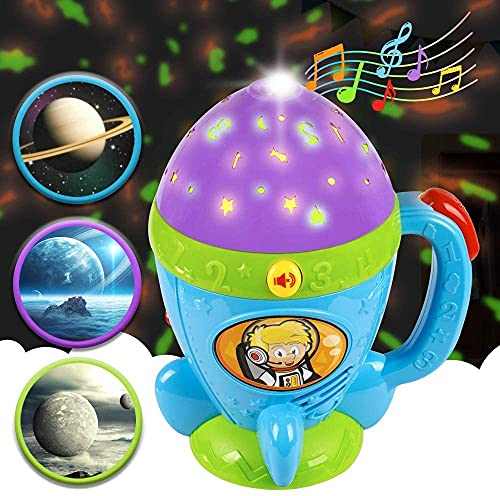Kidpal Flashlight Toy for 1 2 3 Years Old Girl Boy Kid,Baby Toy for 18 24 Months Gift,Toddler Night Light Star Projector Flashlight with Soft Light and Music,Kids Flashlight Music Toys Age 3-4 Years