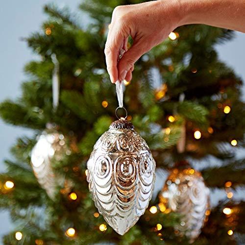 3 palline di Natale in vetro effetto antico, decorazioni per albero di Natale, design smerlato, confezione da 3 pezzi