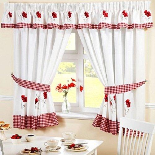 Homespace Direct Rideaux de Cuisine plissés à Motif Floral brodé - Bordure et embrasses à Carreaux Rouges, Polyester, Rouge/Blanc, 46 x 42-inch