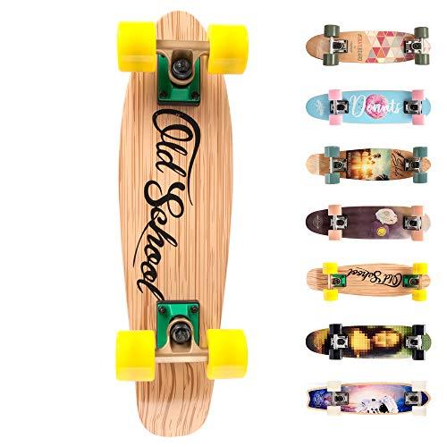 meteor Holz Skateboard Kinder - Mini Cruiser Kickboard - Skateboard Rollen Board Old School Holz Deck Retro Skateboard Jungen - Kinder ab 3 Jahre Mini-Board (Old School)