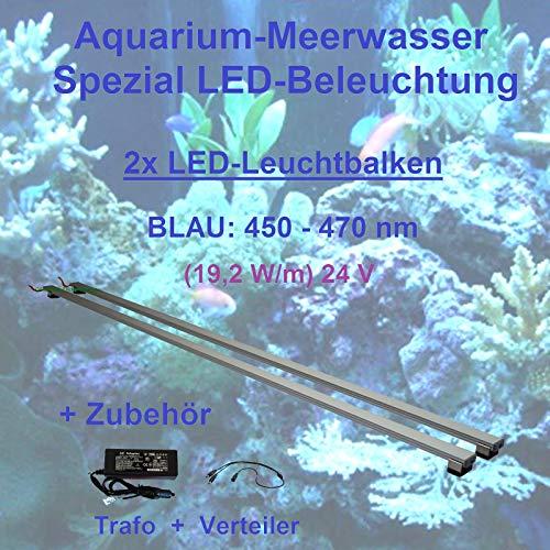 Meerwasser Aquarium - LED-Leuchtbalken 40 cm, 2 Leisten BLAU mit Trafo 60W u. Verteiler