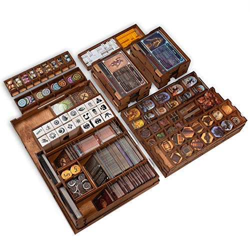 Smonex Wooden Organizer and Four Player Boards Compatible with Gloomhaven Board Game - Box Suitable for Storage All Gloomhaven Expansions - Gloomhaven Insert and Storage