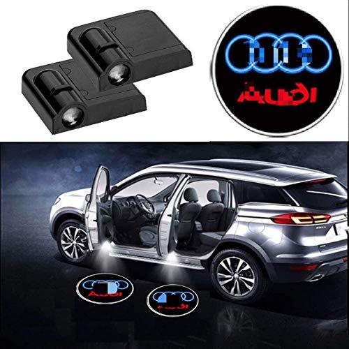 Auto LED Tür Laser Projektionslampe, Universal Wireless LED Laserlichter Logo Automatisch öffnen und schließen Geeignet für die meisten Autos (4 Stück, für Audi)