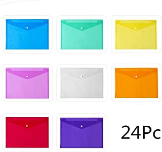 Ming-Ying7 (24 Pack) 8 Assorted Colors Poly Envelopes, Plastic Envelopes, Transparent Envelopes Designed for School,Home, Work, and Office Organization