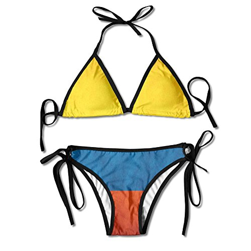 PIOL Colombia Flag Swimsuits Bikinis Thong Swimsuit for Beach Beach Swimming Black