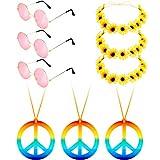 Conjunto de Accesorios de Vestido Hippie, Incluye 3 Gafas de Hippie, 3 Collares de Signo de Paz, 3 Diadema de Girasol Margarita para Vestido de Verano (Conjunto de Colores 3)