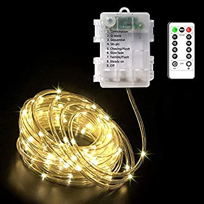 CCILAND 5m 50 LED Battery Rope Fairy Lights String Warm White with Remote, Outdoor Waterproof & Indoor Rope Light, Timer, 8 Modes Garden String Lights, Dimmable LED Rope Lights Indoor Decoration