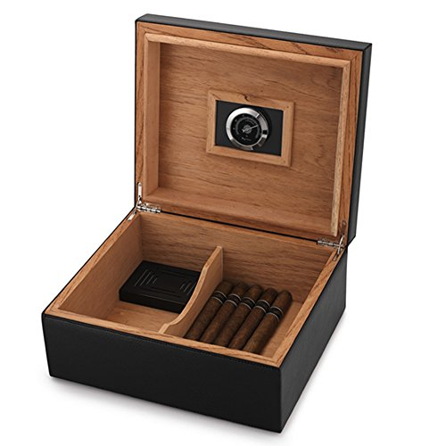 MEGACRA Desktop Humidor Case Holds 25-50 Cigars, Unique Elegant Leather Display, Handcraft Spanish Cedar Wood Storage Box with Humidifier and Hygrometer, Black Color