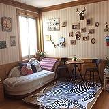 Teppiche Matten Teppiche Zebra Kuhfell Teppich Die gesamte Nordic American Tier schwarz und weiß Teppich Wohnzimmer Schlafzimmer Bett kleine kreisförmige dünne Bodenmatte ( Size : 200cm(78.7 inches) ) - 3