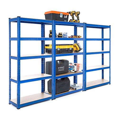 Estantería resistente de acero de Racking Solutions, para garaje, (3 unidades, 150 kg por estante, 5 niveles, 1500 x 750 x 300 mm)