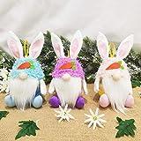FGASAD Juego de 3 muñecos de Pascua sin cara, decoración de conejito de Pascua, adornos de gnomo, decoración de Pascua, para fiestas y fiestas temáticas