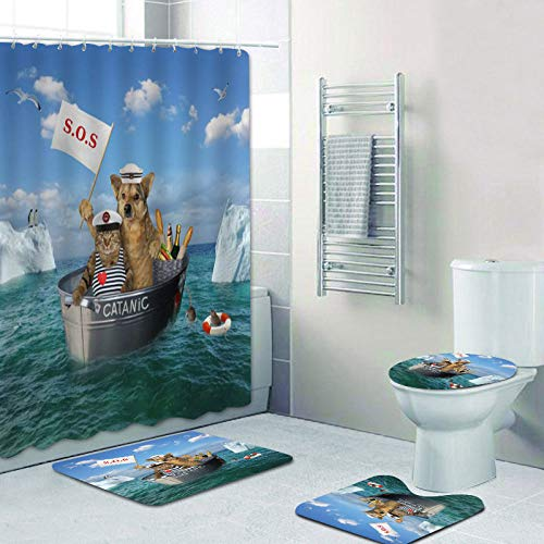 EIJFKNC 3D Funny Cat Dog Shower Curtains Bathroom Curtain Novelty Sailing Animal Bath Curtain Mat Rug Set Kitten Pet Love Decor,4pcs 2